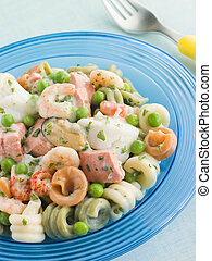 Seafood Pasta Spirals with Peas and Herbs