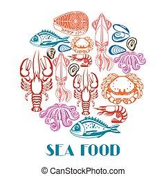 seafood., pez, marisco, crustáceos, ilustración, vario, ...
