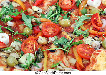 seafood pizza close up food background