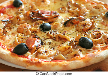 Seafood pizza - Traditional italian seafood pizza with ...