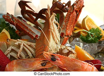 Close up of fresh seafood platter