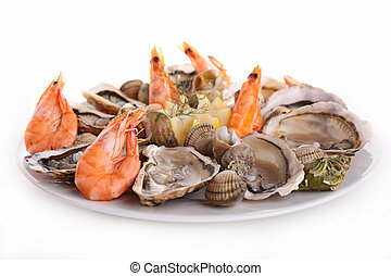 seafood platter isolated on white