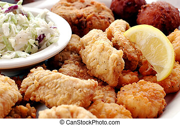 Seafood Platter - Fried seafood platter with fish, crab...