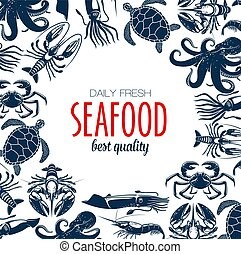 Seafood poster, turtle and shrimp, crab
