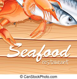 Seafood poster with different kind of seafood and text