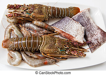 Seafood - raw seafood on white tray for made soup