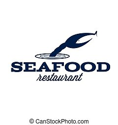 seafood restaurant illustration with claw and fish