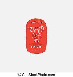 Seafood restaurant, lobster logo vector design