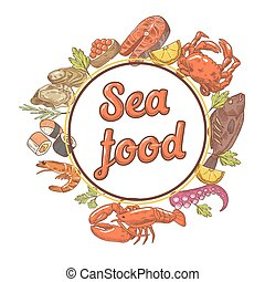 Seafood Restaurant Menu Design with Fish, Crab and Oysters. Hand Drawn vector illustration