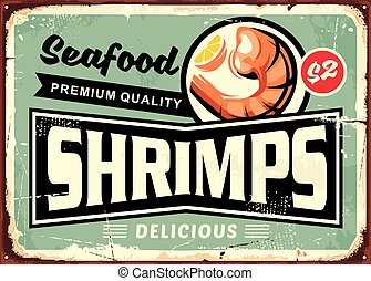 Seafood restaurant menu sign design with delicious shrimps....