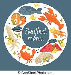 Seafood restaurant menu vector design template for fresh fish gourmet sea food