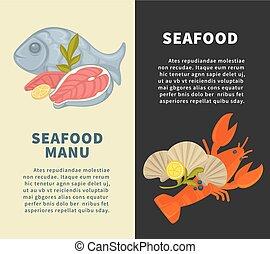 Seafood restaurant menu vector design template for fresh fish sea food