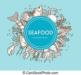 Seafood restaurant promo banner with sketches of raw food