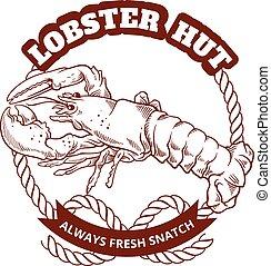 Seafood restaurant retro poster. Vector emblem illustration