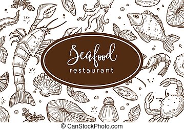 Seafood restaurant sketch poster for menu or tablemat template.