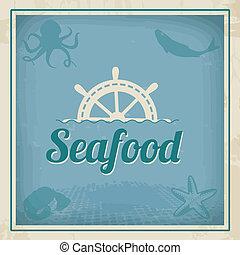Seafood retro poster