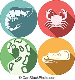 Seafood round colored vector icons
