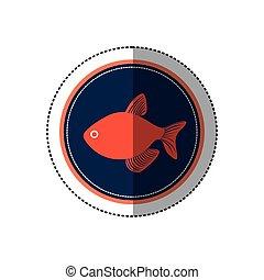 Seafood round stamp