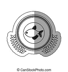 Seafood round stamp