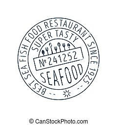 Seafood round stamp vector icon