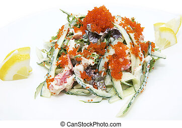 seafood salad at a restaurant on a white background
