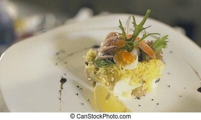 Seafood salad, slow motion - seafood salad, close up