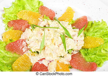 seafood salad of shrimp baked at cream with orange and...