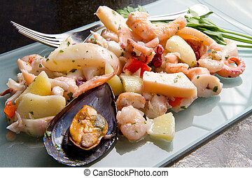 Seafood Salad with prawns, mussels, squids, octopus
