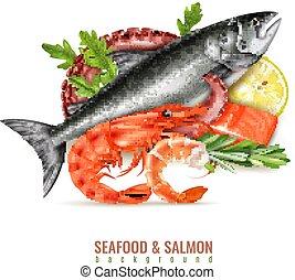 Seafood Salmon Realistic Composition
