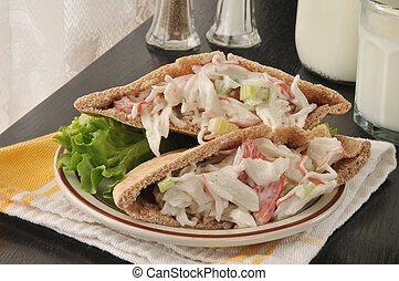 Seafood sandwich on pita bread