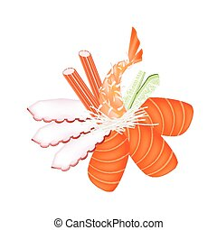 Seafood Sashimi with Chopsticks on White Background -...