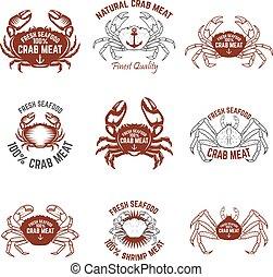 seafood., satz, fleisch, labels., elemente, design, krabbe, frisch, logo