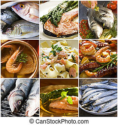 seafood - sea food collage made from nine photographs