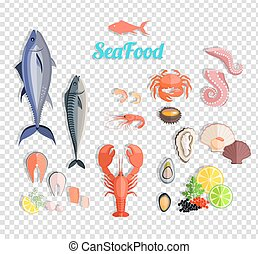 Seafood Set Design Flat Fish and Crab