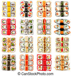 Seafood set - isolated rolls on white background