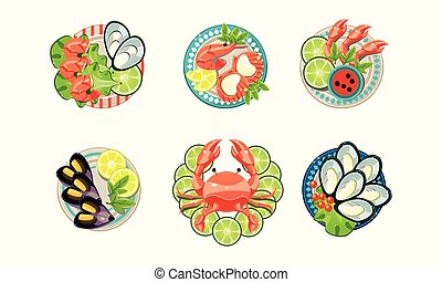 Seafood set, oysters, shrimps, octopus, lobster on plates vector Illustration on a white background