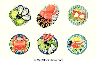 Seafood set, oysters, shrimps, octopus, lobster vector Illustration on a white background
