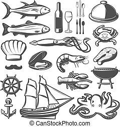 seafood, set, pictogram