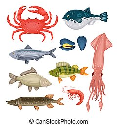 Seafood set with crab, fish, mussel and shrimp isolated on white background. Design for restaurant menu, market. Marine creatures in flat style - vector illustration