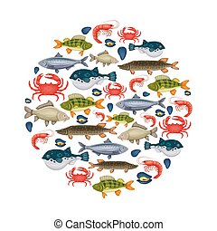 Seafood set with crab, fish, mussel, shrimp in circle. Design for restaurant menu, market. Marine creatures in flat style - vector illustration
