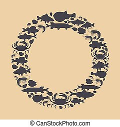 Seafood set with silhouette crab, fish, mussel, shrimp in circle. Design for restaurant menu, market. Marine creatures in flat style - vector illustration
