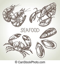 seafood., skizze, satz, abbildung, hand, vektor, gezeichnet