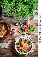 Seafood soup with mussels and shrimps