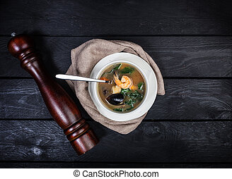 Seafood soup with prawns and mussels.
