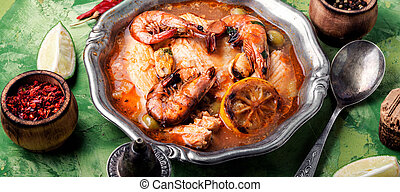 Seafood soup with prawns and mussels