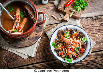Seafood soup with shrimps and mussels