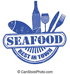 Blue grunge rubber stamp with text seafood, best in town vector illustration