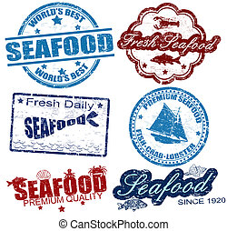 Seafood stamps - Set of grunge rubber stamps with the word...