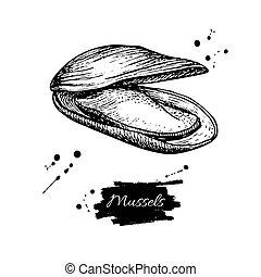 seafood., stijl, illustration., ouderwetse , hand, vector, mossel, getrokken, gegraveerde, oester, sketch.