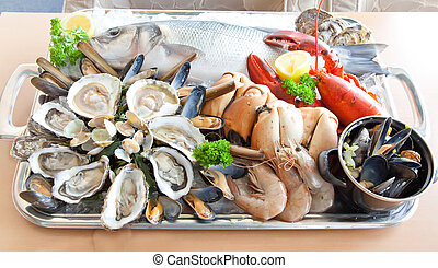 tray with seafood on restaurant table
